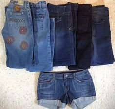 LOT 5 JEANS AND 1 PAIR JEAN SHORTS JULY 25 AMERICAN EAGLE DELIAS SIZE 4 Euro 28 #AmericanEagleOutfitters #SlimSkinny