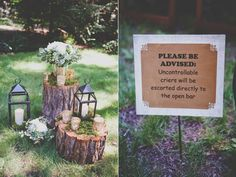 ceremony signs - photo by Evynn LeValley Photography http://ruffledblog.com/woodland-wedding-in-the-big-sur-redwoods
