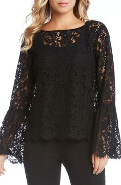 Karen Kane Lace Bell Sleeve Top --> click the link to buy! Lavished with intricate floral lace and flouncy bell sleeves, this pretty top takes you from work to date night with ease. Robes Western, Western Dresses, Lace Sleeves, Bell Sleeves, Black Bell Sleeve Top, Looks Plus Size, Black Lace Tops, Blouse And Skirt, Classy Dress