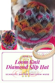 ePattern: Diamond Slip Hat This is an extremely popular loom knit hat pattern and a very fun stitch pattern to learn! Loom Yarn, Loom Crochet, Loom Knit Hat, Peg Loom, Loom Weaving, Knitted Hats, How To Loom Knit, Sock Loom, Round Loom Knitting