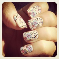 The Perks of Being a Wall Flower Girl Cute Nail Art, Cute Nails, Pretty Nails, Mani Pedi, Manicure, Vintage Nails, French Acrylic Nails, Nail Time, 3d Nails