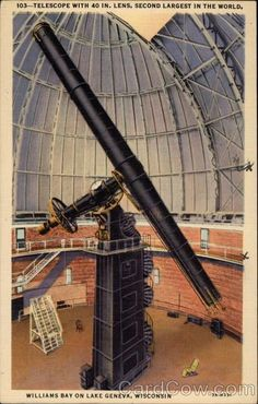 Telescope With 40 In. Lens, Second Largest in the World Lake Geneva Wisconsin (more)