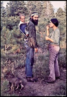hippie family. Taking a hike smoking a joint