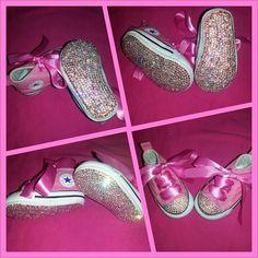 Baby bling bottom converses Peightonscloset@gmail.com #baby #shoes #converse #custom