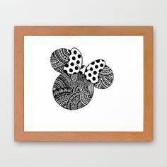 Zentangle Minnie Mouse Framed Art Print