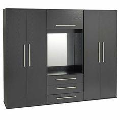 Ideal Furniture Bobby 4 door Wardrobe with drawers - Oak Wardrobe Wall, Wardrobe Door Designs, Wardrobe Drawers, Wooden Wardrobe, Wardrobe Design Bedroom, Wardrobe Doors, Closet Bedroom, Single Wardrobe, Triple Wardrobe