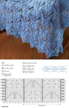 Ажурный палантин спицами схема. Палантин с красивым узором спицами схема | Домоводство для всей семьи