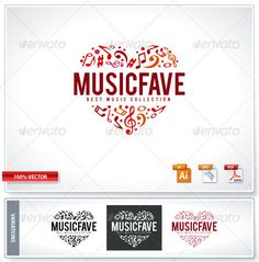 Music Fave Logo Template  #GraphicRiver         Music fave logo template. Vector illustration. Easy to use and edit. EPS & AI files included.     Created: 22December11 GraphicsFilesIncluded: VectorEPS #AIIllustrator Layered: Yes MinimumAdobeCSVersion: CS Resolution: Resizable Tags: audio #creative #emblem #fav #fave #favorite #heart #logo #love #melody #music #musical #note #radio #shape #sign #song #sound #studios #symbol #template #tune #vector