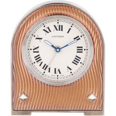 Pre-owned Cartier Alarm Clock ($995) ❤ liked on Polyvore featuring home, home decor, clocks, gold, second hand clock, cartier clock, cartier alarm clock and roman numeral clock