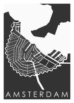 Kaart Amsterdam 1700 Antraciet van Wall of Maps