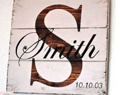 Rustic Distressed Pallet Wood Personalized Family Sign with Family Initial and Last Name / Shelf Sign/ Personal Wedding /Anniversary Sign