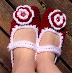 Adult Mary Jane Flower Slippers- Hand Crochet  with strap, flower and button on Etsy, $18.00
