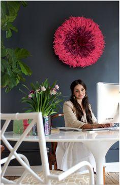 dark walls, pink juju hat. fig tree, tulip table