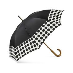 ShedRain Wood Stick Umbrellas ($17) ❤ liked on Polyvore featuring accessories, umbrellas, black, shedrain, print umbrella, wooden umbrella, wood umbrellas and polka dot umbrella