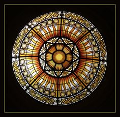 Stained glass dome.  Peace Palace - The Hague. Photo by Frans Schmit