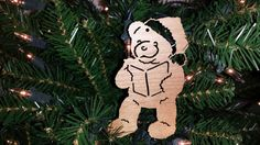 Christmas Teddy Bear Ornament Holiday by BPLaserEngraving on Etsy