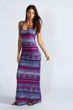 Dahlia Aztec Print Strappy Maxi Dress
