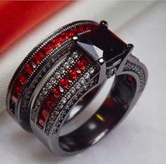 4.5Cts Black Rhodium Ruby and Black Diamond Engagement Ring Set by RazosRingShop on Etsy https://www.etsy.com/listing/234390281/45cts-black-rhodium-ruby-and-black
