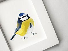 Geometric illustration, Blue tit, Bird print, Original illustration | Felt