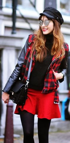 tartan and leather jacket, red skirt, black accessories