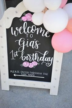 Bohemian Unicorn 1st Birthday | CatchMyParty.com First Birthday Board, First Birthday Sign, 1st Birthday Chalkboard, Wild One Birthday Party, Unicorn Birthday Parties, Birthday Diy, First Birthday Parties, Hawaiian Birthday, Unicorn Party