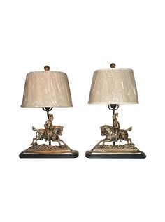Pair of 19th c door stop lamps
