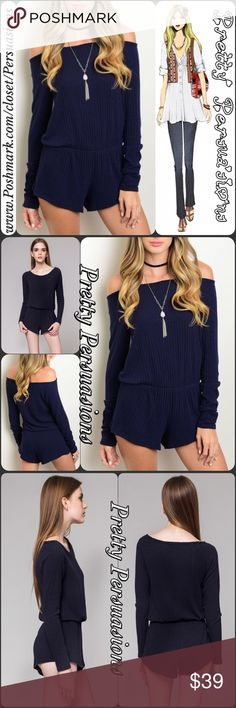 """NWT Navy Long Sleeved On/Off Shoulder Romper NWT Navy Long Sleeved On/Off Shoulder Romper  Available in S, M, L Measurements taken from a small  Length: 32"""" Bust: 36"""" Waist: 24"""" (smocked waist)  Rayon Blend Made in the USA  Features  • on/off shoulder design • ribbed  • smocked waistline • long sleeves • soft, breathable material • relaxed fit  Bundle discounts available No pp or trades  Item # 1/109110390NRR blue navy striped ribbed romper fall must have Pretty Persuasions Pants Jumpsuits…"""