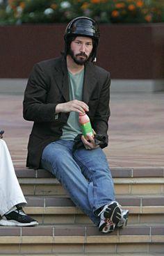 Sad Keanu drinking juice