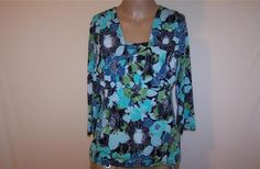 EAST 5TH Sz M Shirt Top Stretch Floral 3/4 Sleeves Colorful Womens Work #East5th #KnitTop #Casual
