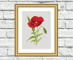 """Modern, elegant, vibrant and cheerful still life/flower pattern of """"Single Poppy"""". These patterns look especially attractive when viewed from a distance and so easy to stitch! Perfect for any room in your home including living rooms, kids rooms and bedrooms. $6,99"""