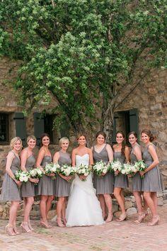 Cute grey J.Crew bridesmaids dresses. View the full wedding here: http://thedailywedding.com/2016/05/14/timeless-silverleaf-country-club-wedding-krista-matt/