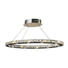 Galaxy 20-light LED Chrome Finish Clear Crystal Oval Suspension Chandelier