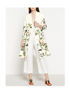 Ted Baker Giova Secret Trellis Print Textured Coat - WhiteSize & Fit True to size - order your usual sizeSlim fit to body with a flared bottomBracelet-length sleevesModel is 5'10