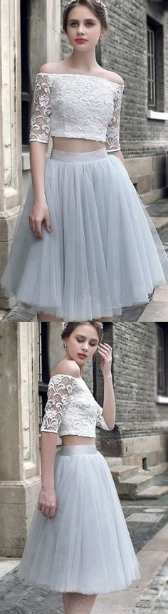 Cheap Prom Dresses, Prom Dresses Cheap, Two Piece Prom Dresses, Blue Prom Dresses, Light Blue Prom Dresses, Cheap Blue Prom Dresses, Prom Dresses Online, Blue Homecoming Dresses, Two Piece Dresses, Cheap Homecoming Dresses, Light Blue dresses, A-line/Princess Homecoming Dresses, Light Blue Party Dresses, Two Piece Light Blue Homecoming Dresses With Pleated Knee-length Off-the-Shoulder Sale Online