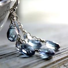 """""""rain"""" blue quartz & sterling silver earrings $75these should not cost this much but i love them"""