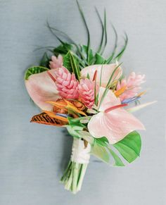 We will never tire of the many different ways tropical florals can be constructed for unique island wedding looks. This bouquet was perfect for our beach destination bride in South Florida at wedding venue Historic Walton House. Tropical Wedding Bouquets, Tropical Flower Arrangements, Beach Wedding Flowers, Wedding Flower Arrangements, Hawaii Wedding, Flower Bouquet Wedding, Tropical Flowers, Floral Wedding, Beach Wedding Boutonniere