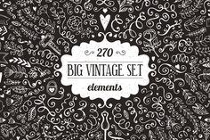 270 elements - Big Vintage Bundle by Qilli on Creative Market
