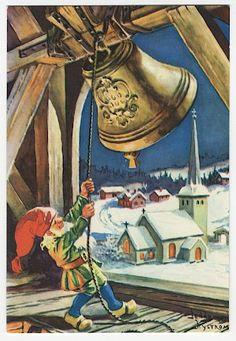 Рождественские Пейзажи, Скандинавское Рождество, Винтажные Рождественские Открытки, Рождество В Стиле Ретро, Рождественские Колокольчики, Винтажные Марки, Гномы, Эльфы, Рождественские Иллюстрации