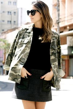 a21f80b0cbebe3 camo jacket and black skirt Military Inspired Fashion