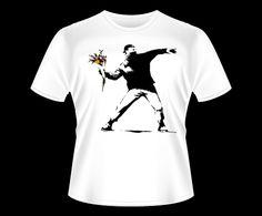 Banksy - Throw Flower Camiseta T-Shirt Tee