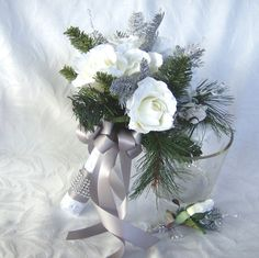 Winter wedding bouquet and boutonniere by ChurchMouseCreations, $75.00