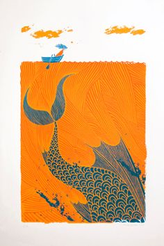 """The Sea Monster"" illustration with an orange sea / ocean & sky clouds, and a teal blue fish"