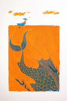 The Sea Monster screenprint by tribambuka on Etsy