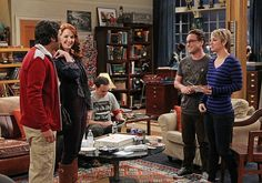 Raj's honesty about his past comes back to haunt him after his girlfriend, Emily, is cold to Penny, on THE BIG BANG THEORY, Monday, Oct. 6 (8:00-8:31, ET/PT), on the CBS Television Network. Pictured left to right: Kunal Nayyar, Laura Spencer, Jim Parsons, Johnny Galecki and Kaley Cuoco-Sweeting Photo: Sonja Flemming/CBS ©2014 CBS Broadcasting, Inc. All Rights Reserved.