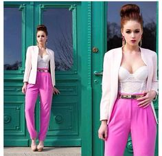 High Waisted Neon Pants, Lace Bustier and Blazer