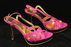 Colin Stuart Hot Pink Open Toe High Heels Pumps with Gold Trim Size 8.5 M Sandal