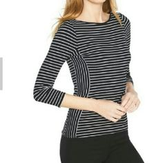 Top Long sleeve. black and white striped tee. brand new. Never worn. With tags White House Black Market Tops Tees - Long Sleeve