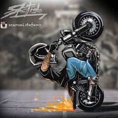 Badass Motorcycle Artwork by Scaronistefano Bike Sketch, Stunt Bike, Bike Art, Biker Tattoos, Ducati, Drawing, Biker Boys, Motorcycle Clubs, Stunts