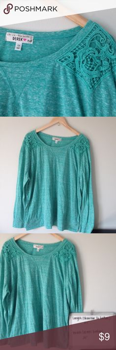 SALE! Derek Heart Plus Long Sleeve Shirt This long sleeve shirt is a green/teal color with lace details on the shoulders. It's like new, rarely worn. Derek Heart Tops Tees - Long Sleeve