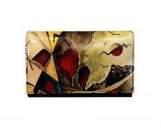 Ručne maľovaná kožená peňaženka s motívom Abstrakt Wallet, Abstract, Purses, Diy Wallet, Purse